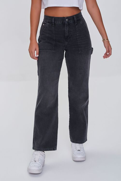 WASHED BLACK High-Rise Cargo Jeans, image 2
