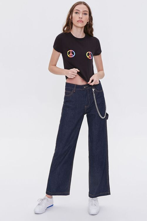 Peace Sign Cropped Tee, image 4
