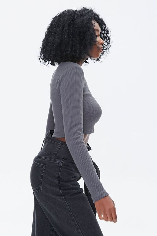 Waffle Knit Henley Crop Top, image 2