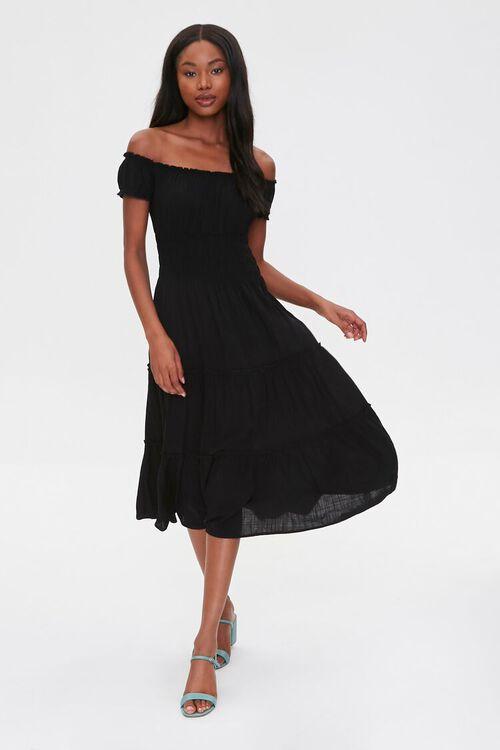 Linen Off-the-Shoulder Dress, image 1