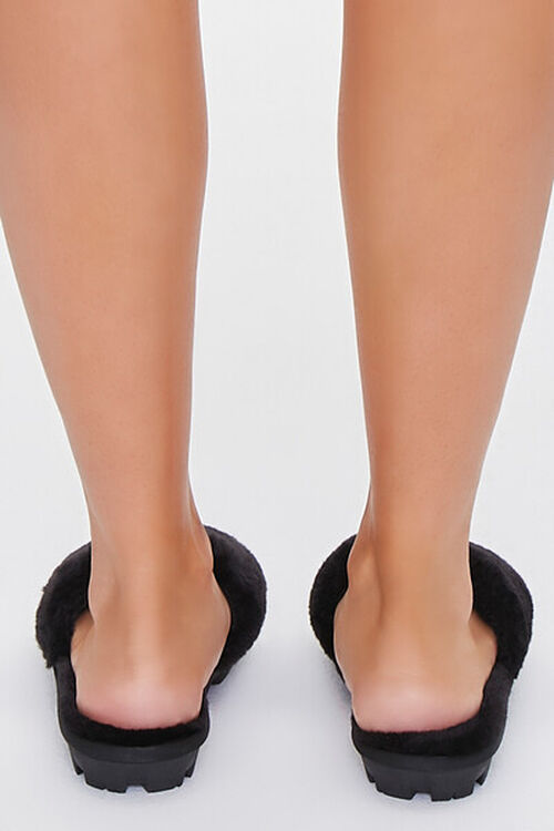 BLACK Faux Fur Lug Sole Slippers, image 3