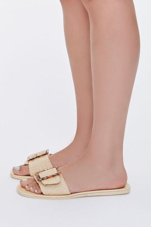 Buckled Straw Flat Sandals, image 2