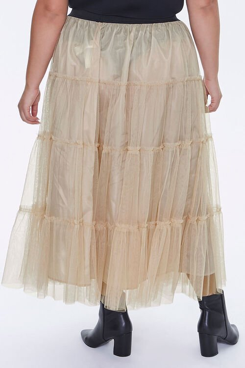Plus Size Ruffle Mesh Maxi Skirt, image 4