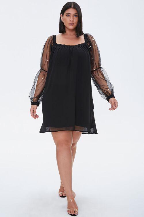 Plus Size Faux Pearl-Sleeve Mini Dress, image 4