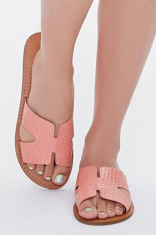 Faux Croc Leather Cutout Sandals, image 4