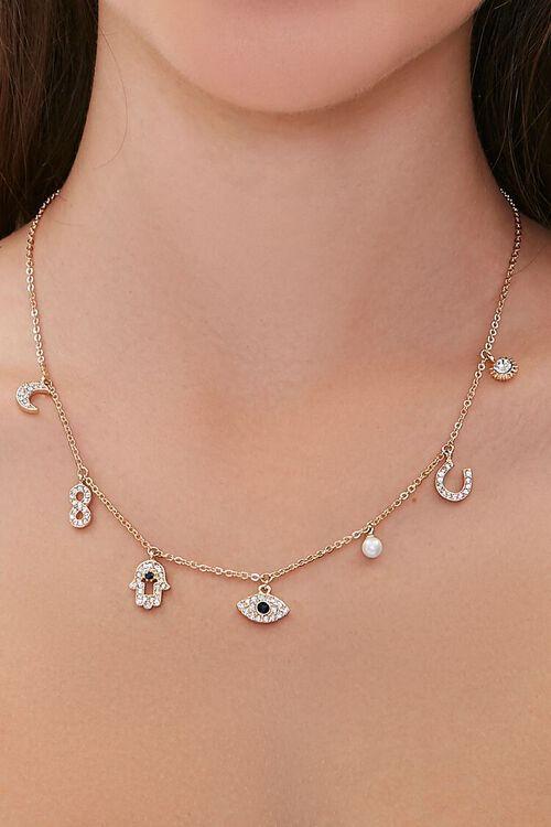 GOLD Rhinestone Charm Necklace, image 1