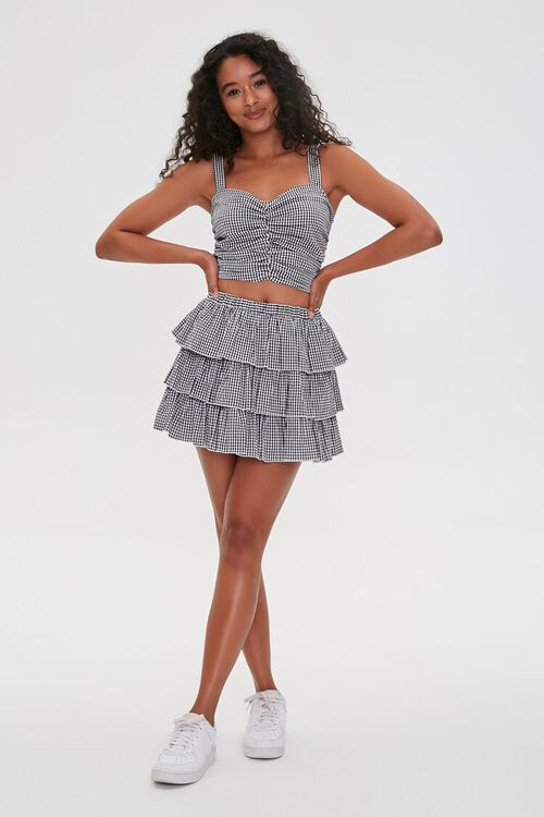 Gingham Ruched Sweetheart  Crop Top, image 4