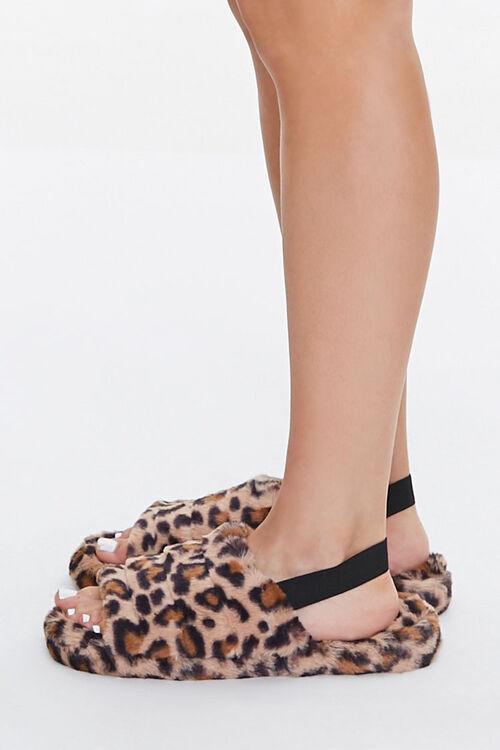 Faux Fur Leopard Print Indoor Slippers, image 2