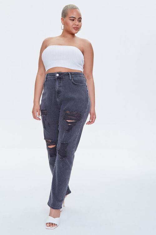 Plus Size Distressed Boyfriend Jeans, image 1