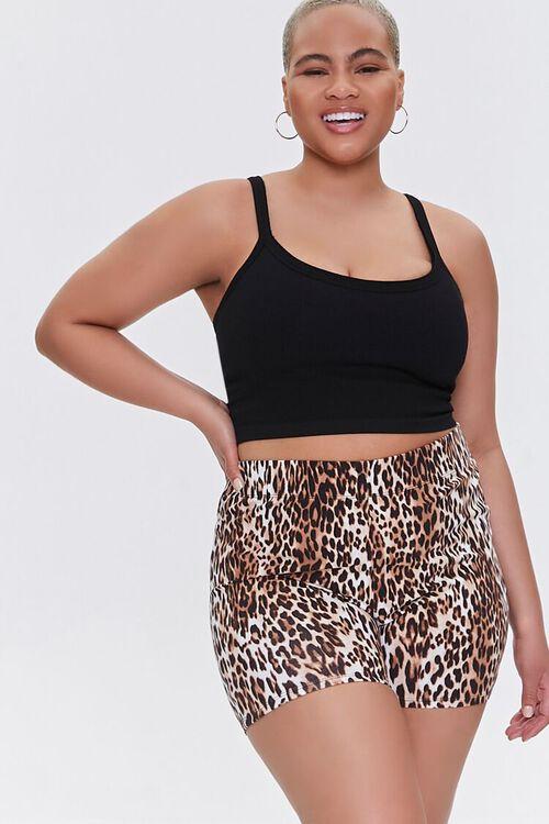 Plus Size Leopard High-Rise Biker Shorts, image 1