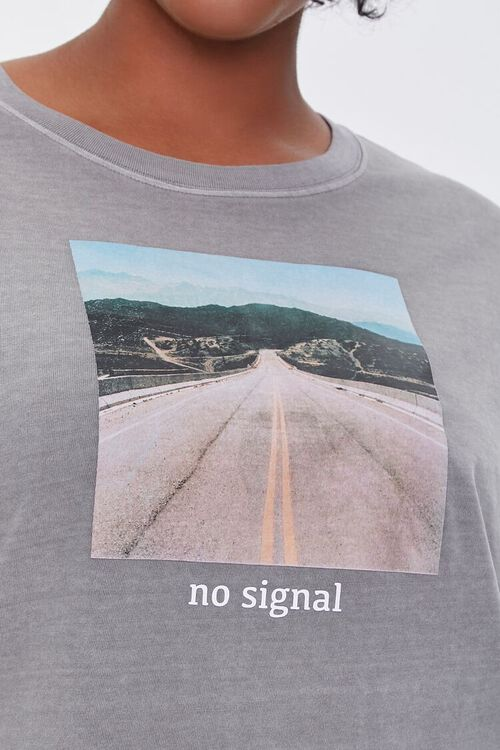 TAUPE/MULTI Plus Size No Signal Graphic Tee, image 5