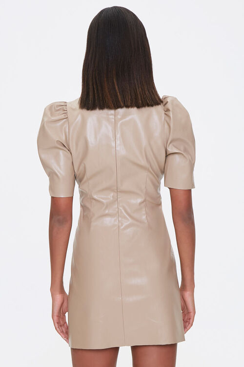 Faux Leather Puff-Sleeve Dress, image 3