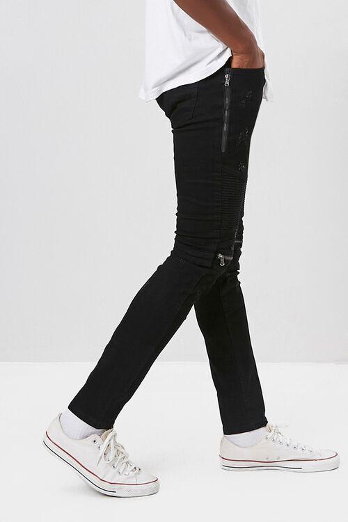 Zippered Moto Skinny Jeans, image 2