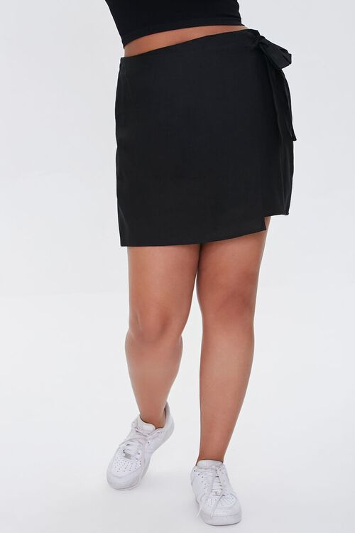 Plus Size Linen-Blend Self-Tie Skirt, image 2