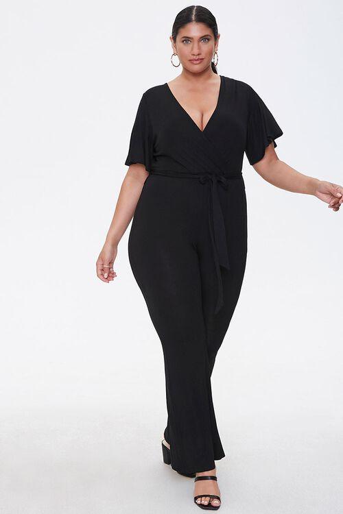 Plus Size Flare Wrap Jumpsuit, image 1