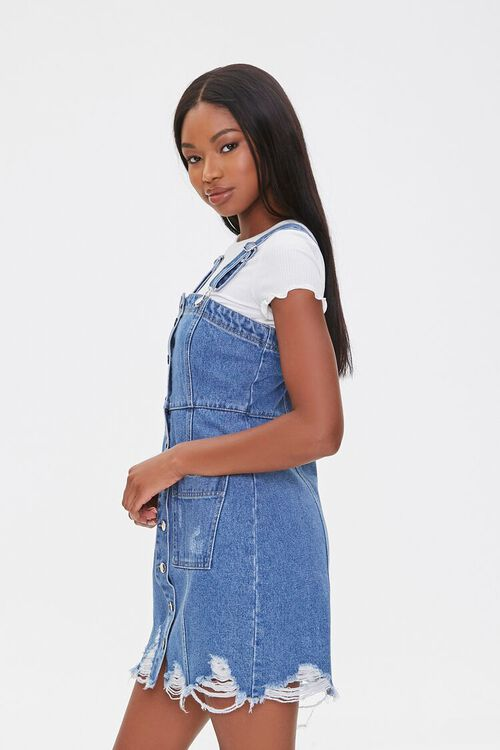 Distressed Denim Overall Dress, image 2