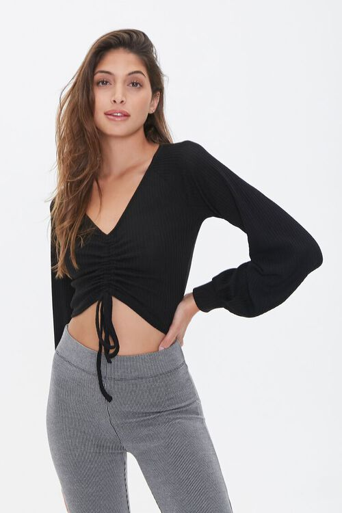 Ruched Drawstring Crop Top, image 1