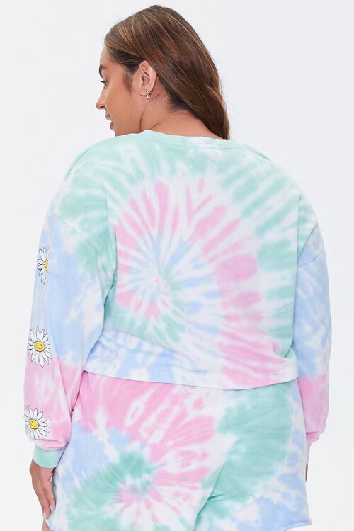 Plus Size Daisy Graphic Tie-Dye Pullover, image 3