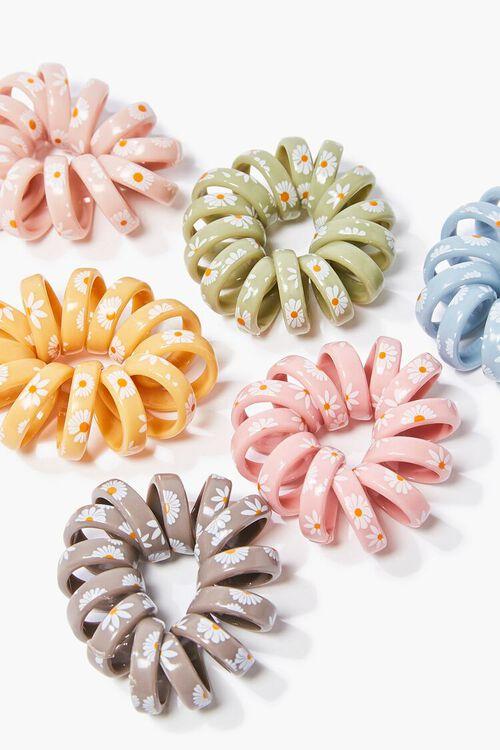 PINK/MULTI Spiral Floral Hair Tie Set, image 2