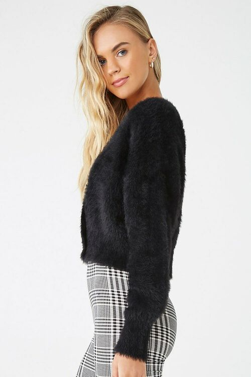 Fuzzy Button-Front Cardigan, image 2
