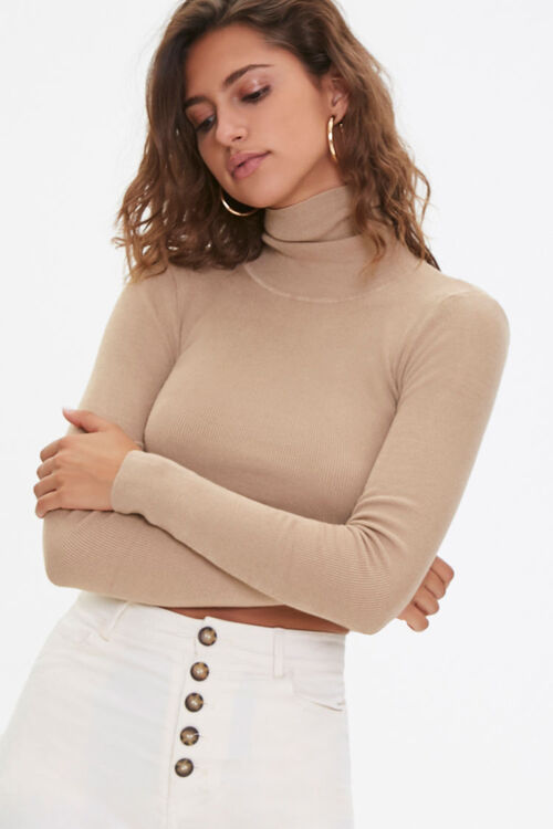 Cropped Turtleneck Sweater, image 1