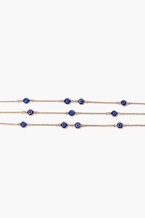 GOLD/BLUE Evil Eye Charm Bracelet Set, image 2