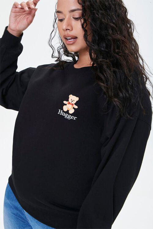BLACK/MULTI Plus Size Embroidered Hugger Sweatshirt, image 1
