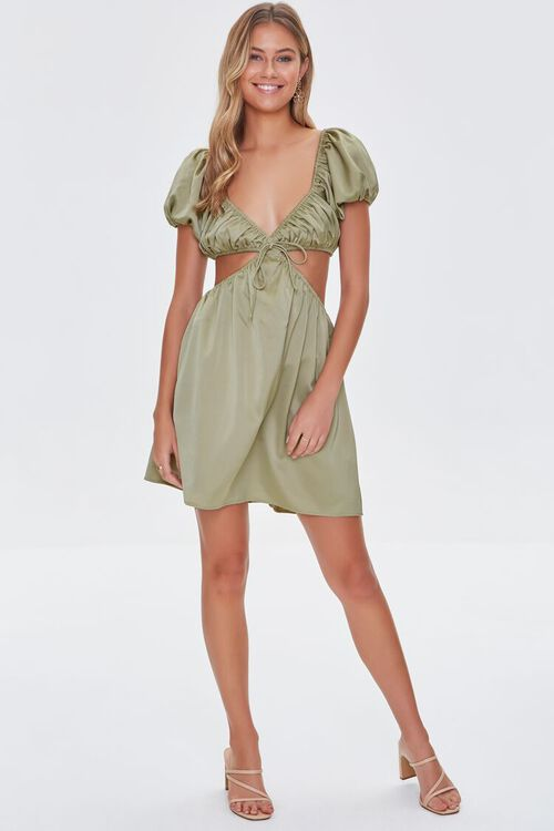 SAGE Satin Puff Sleeve Mini Dress, image 5