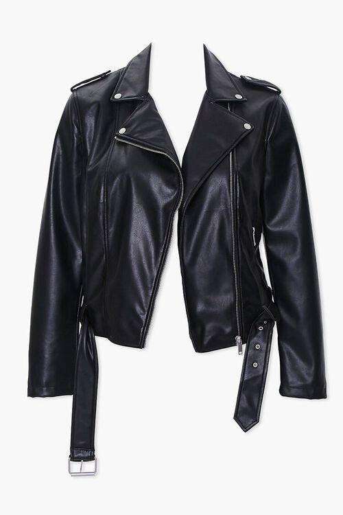Plus Size Faux Leather Moto Jacket, image 5