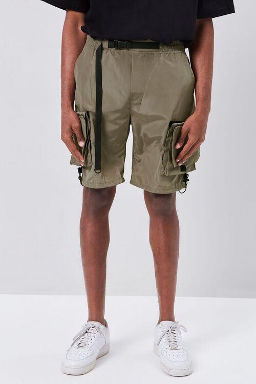 OLIVE Release-Buckle Belted Cargo Shorts, image 2