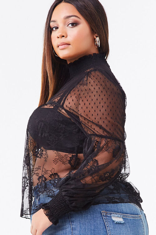 Plus Size Sheer Lace Top, image 2