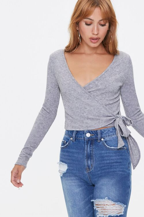 Marled Knit Wrap Top, image 1