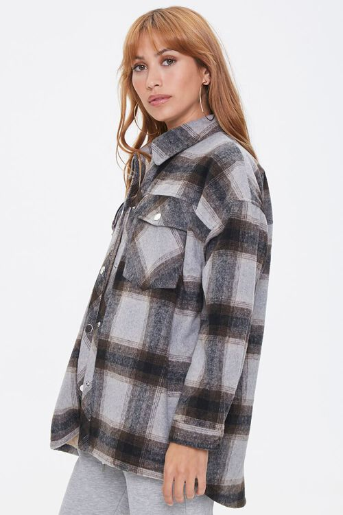 Plaid Button-Front Shacket, image 2
