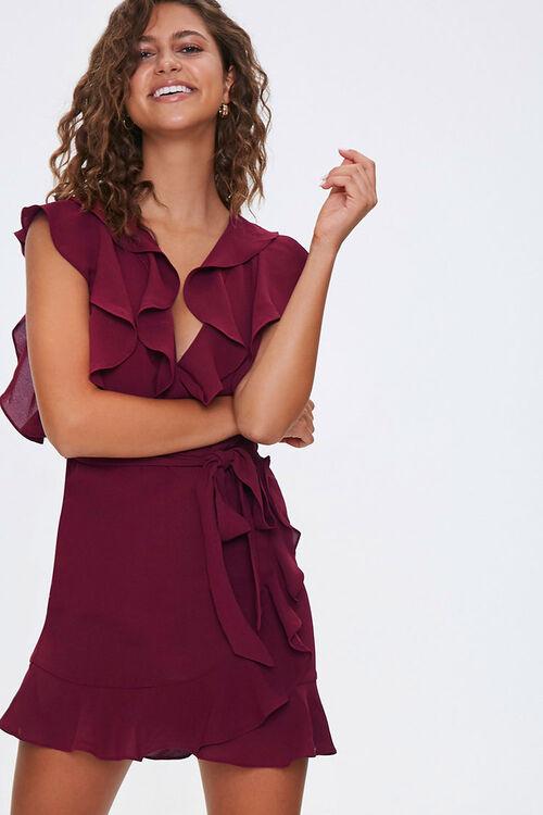 Chiffon Ruffle-Trim Wrap Dress, image 1
