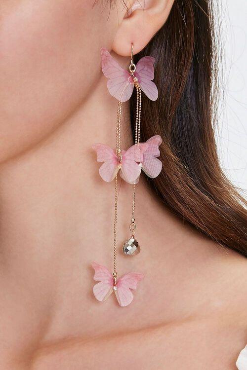 PINK/GOLD Butterfly Drop Earrings, image 1