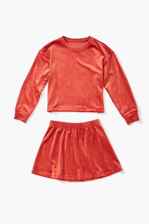 RUST Girls Velvet Tee & Skirt Set (Kids), image 3