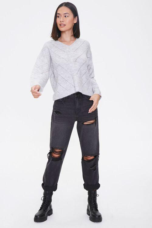 Pointelle Knit V-Neck Sweater, image 4