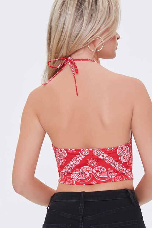 RED/WHITE Paisley Print Halter Top, image 3