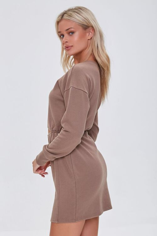 BROWN French Terry Cutout Mini Dress, image 2