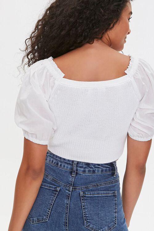 WHITE Sweater-Knit Ruffle Crop Top, image 3
