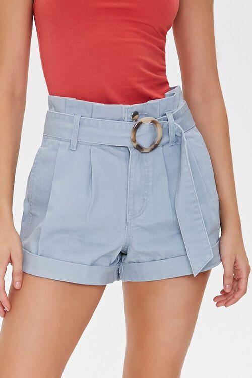 Belted Paperbag Denim Shorts, image 2