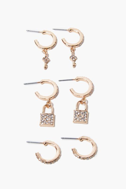 GOLD Lock Charm Hoop Earring Set, image 1