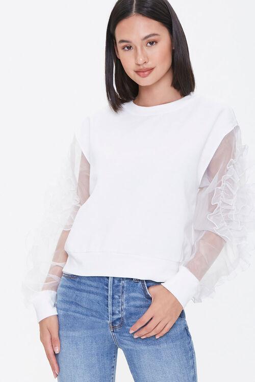 WHITE Ruffled-Sleeve Sweater, image 4