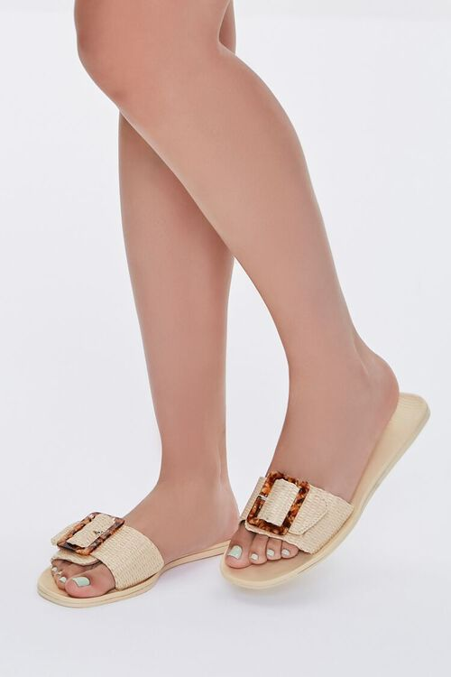 Buckled Straw Flat Sandals, image 1