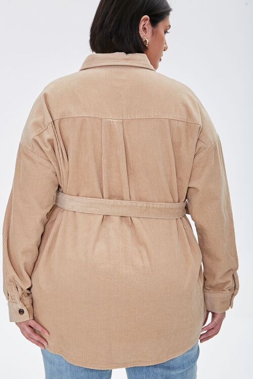 Plus Size Corduroy Belted Shacket, image 3