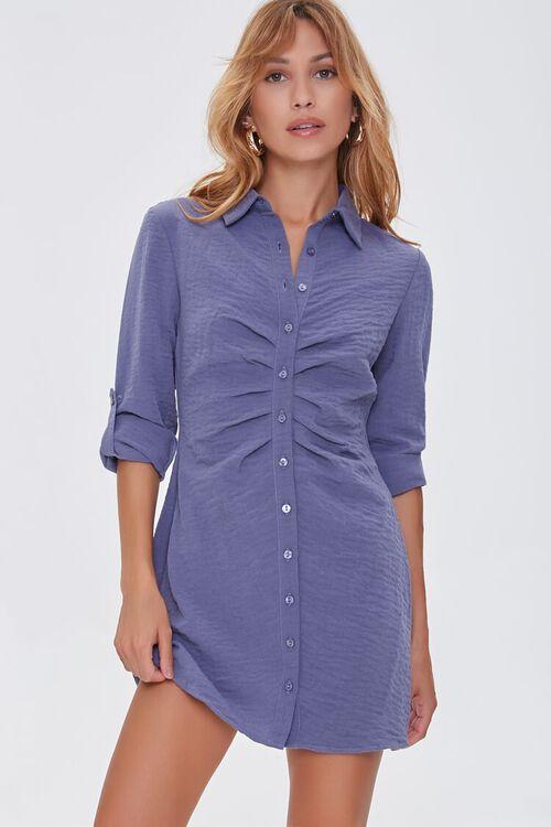 BLUE Ruched Mini Shirt Dress, image 1