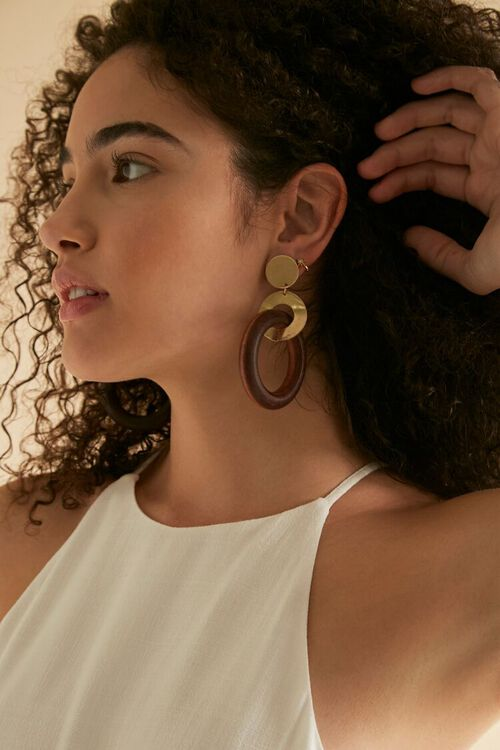 Wooden Hoop Drop Earrings, image 1