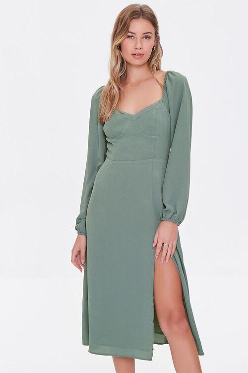 DARK GREEN Recycled Sweetheart Dress, image 1