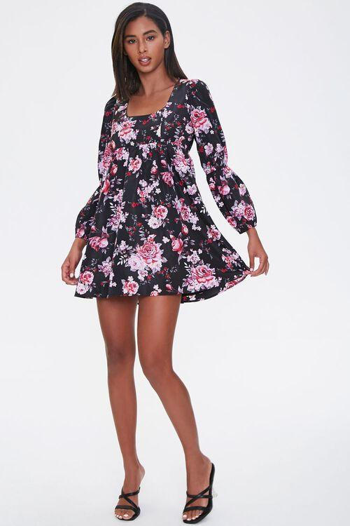 BLACK/PINK Floral Print Mini Dress, image 4