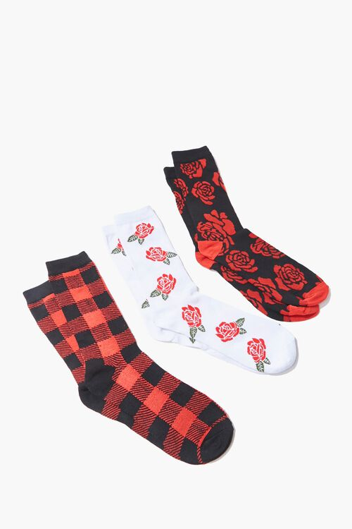Men Floral & Plaid Crew Socks, image 1